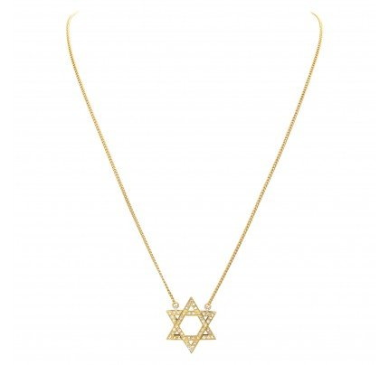 Star of David with pave 0.75 carat of diamonds in 18k yellow gold