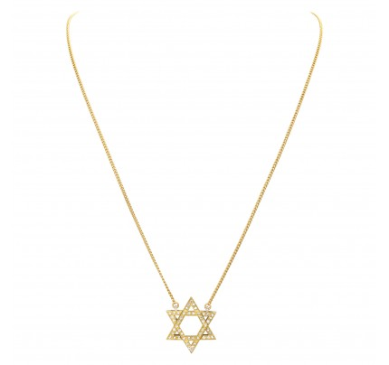 Star of David with pave 0.57 carat of diamonds in 18k yellow gold