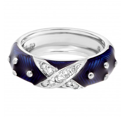 Diamond and blue enamel ring in 18k white gold