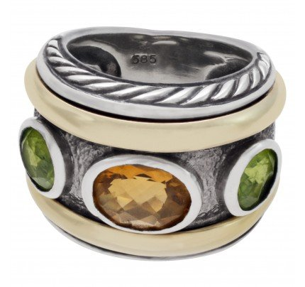 David Yurman peridot and citrine in 14k gold and sterling silver in ring