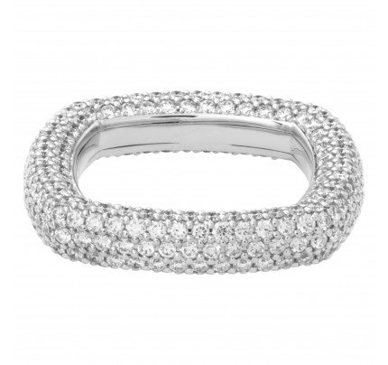 Diamond Eternity Band and Ring Pave square in 18k white gold with approximately 3.26 carats