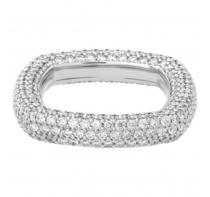 Pave diamond square eternity band in 18k white gold with approximately 3.26 carats