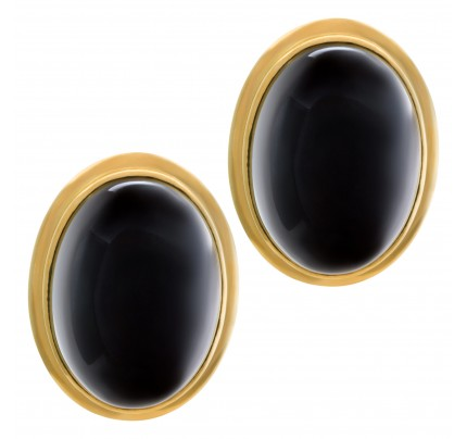 Large oval cabochon onyx earrings in 14k