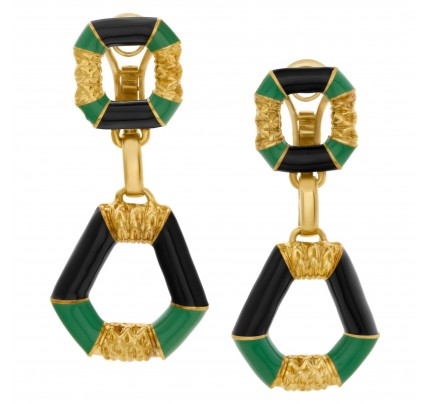 Colorful and fluted green and black enamel dangling earrings in 18k