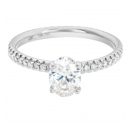 GIA 1.01 carat oval cut G-SI2 in an 18k white gold eternity band setting