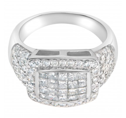 Invisible set diamond ring with over 1.6 carats in 18k white gold