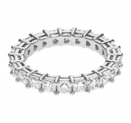 Diamond Eternity Band and Ring with 22 radiant cut diamonds, totaling 3.35 carats set in platinum.