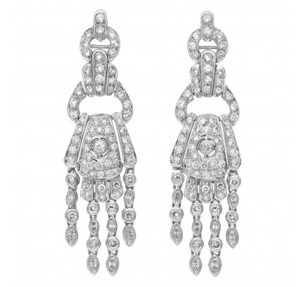 Amazing diamond chandelier earrings 18k white gold over 4.50 cts in diamonds