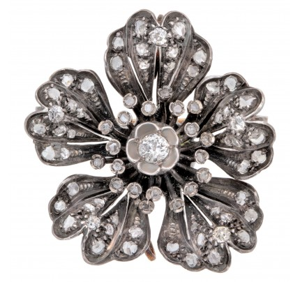 Antique Victorian Diamond Flower Brooch