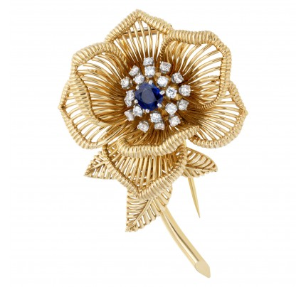 Sapphire & diamond flower brooch in 18k