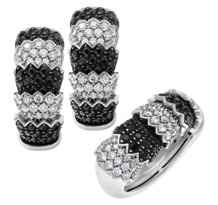 "Roberto Coin ""Cobra"" earrings and ring set in 18k white gold with white diamonds & black sapphires"