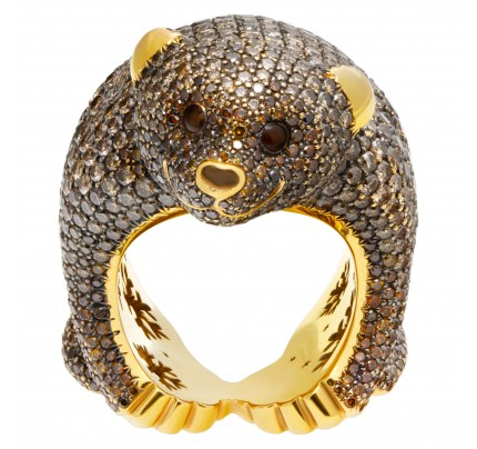 "Masterpiece Chopard Diamond bear ""Animal World Collection"" 18K Ring"
