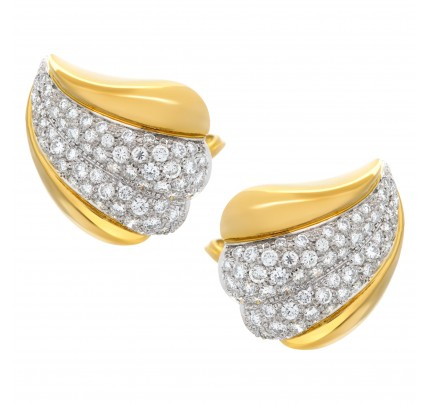 Diamond earrings set in 18k yellow gold