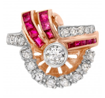 "Art Deco""Spray"" diamond and ruby ring in 14k rose gold"