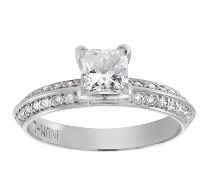 Princess cut diamond engagement ring in platinum, approx. 0.50 ct