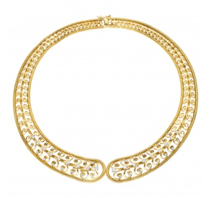 Swirl link choker necklace with diamond accents in 18k