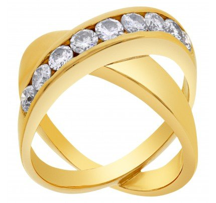 "Diamond ""X"" kiss ring in 14k with 0.90 carats in round diamond accents"
