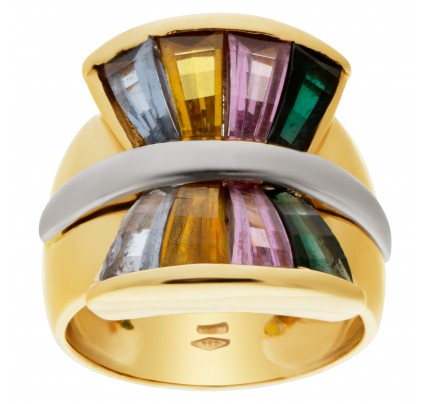 """Colorful Fan"" tapered baguette cut colorful semi-precious stone ring in 14k"