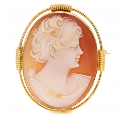 Shell Cameo pin/pendant portrait of a short hair lady set in 14k yellow gold.