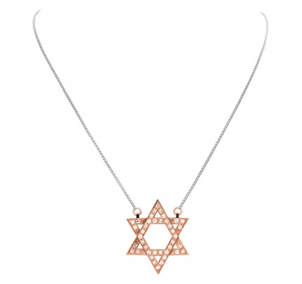 """Star of David"" pendant with approximately 0.75 carat pave diamonds set in 18k rose gold with an 18k white gold chain"