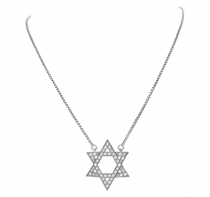 """Star of David"" pendant with approximately 0.75 carat pave diamonds set in 18k white gold"