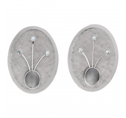 Oval earrings with star sapphire and diamond accents in 14k white gold