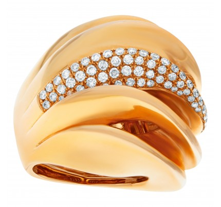 Domed wave ring with single diamond wave in 18k rose gold, approximately 2 carats