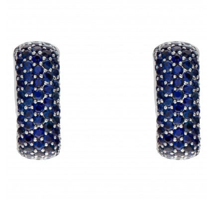 18k White Gold Square Hoop Earrings With 5.72 Carats In Blue Round Cut Sapphires