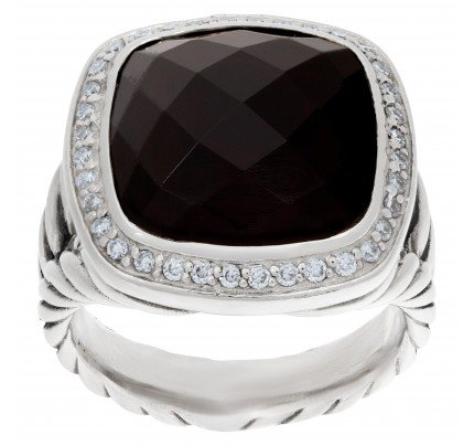 David Yurman Albion onyx ring with diamond accents in sterling silver