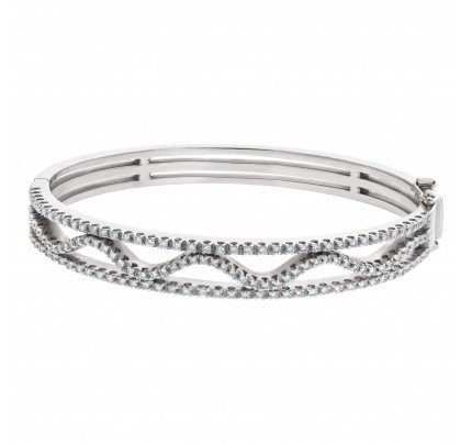 Gorgeous Diamond wave bangle in 14k white gold