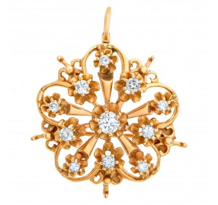 Floral Bouquet pin/pendant with 11diamonds