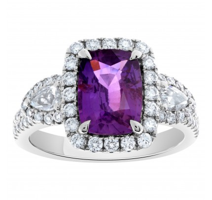 18k white gold ring with 3.06 carat natural purple sapphire and .77 carat in diamonds