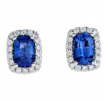 18k white gold stud earrings with 2.25 carats in blue sapphires and 0.31 carat in diamonds