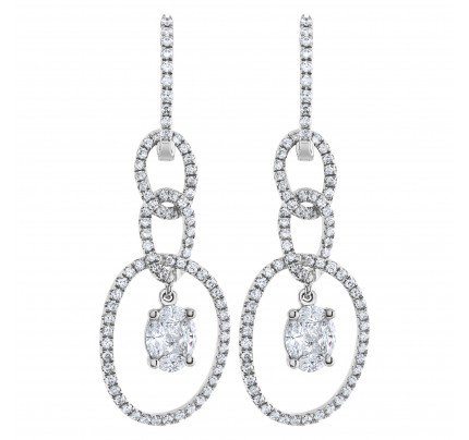 Diamond link drop earring in 18k white gold