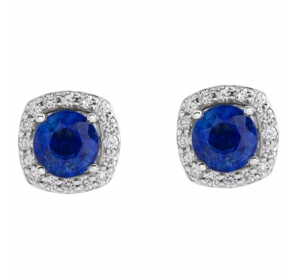 Sapphire and diamond earring in 14k white gold setting
