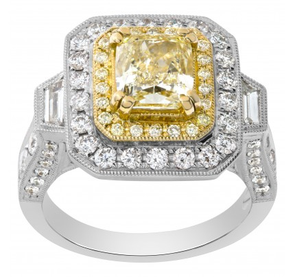 Light yellow diamond ring in 18k white gold