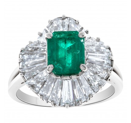 Platinum emerald ring with diamond accents