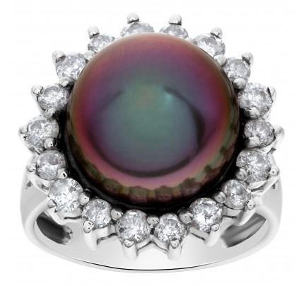 Tahitian pearl (14 x 14 .5mm) diamond ring set in 18k white gold