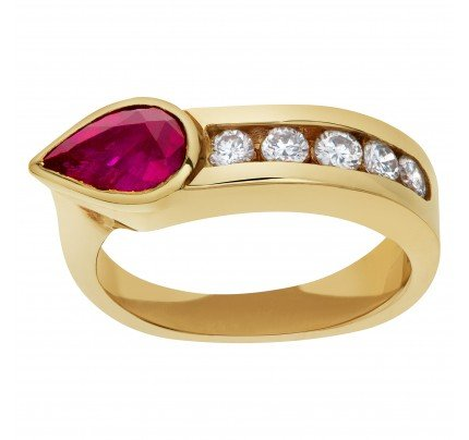 Ruby ring with diamond accents in 14k