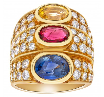 Blue sapphire, ruby and citrine ring with over 2 carats in diamond accents in 18k gold.