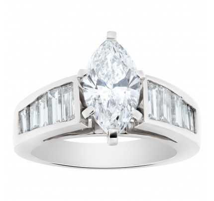 GIA certified marquise brilliant cut diamond 1.53 carat (D color, SI1 clarity) set in platinum setting