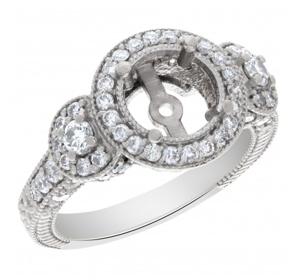 Beautiful diamond setting with approximately 1 carat full cut round brilliant diamonds, set in 14k white gold