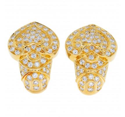 """Diamonds """"ACE OF SPADE"""" shape earrings in 18k"""