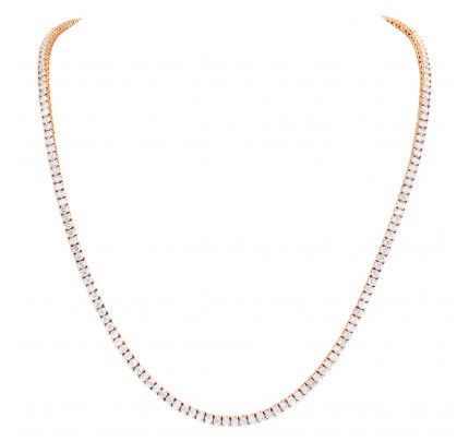 Line Diamonds necklace with 17.85 carats full cut round brilliant diamonds set in 14K rose gold.