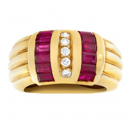 Ruby and Diamond set in 18k yellow gold ring.