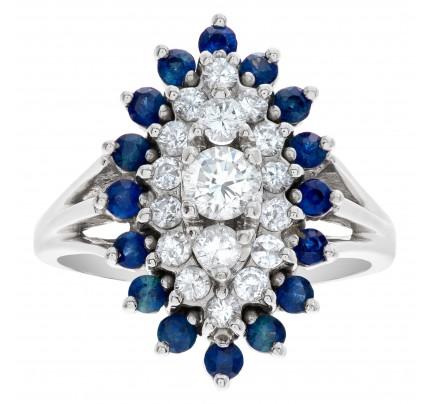 Art Deco diamondand sapphire ring in 14k white gold
