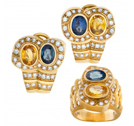 Colorful ring and earring set in 18k