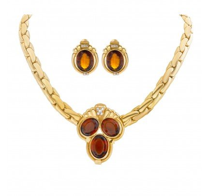 Necklace and Earring set with madeira citrine & diamonds in 18k yellow gold