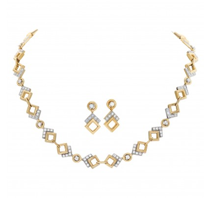 Geometric figures diamond necklace and earrings in 14k