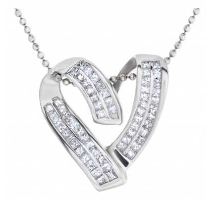 Heart diamond pendant on 18k WG beaded necklace w 1.25 cts in diamonds